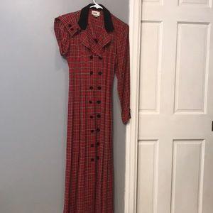 Vintage full length plaid dress